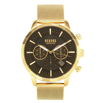 Versus Versace Eugène Yellow Gold Tone Mesh Bracelet Watch - Product number 4515684