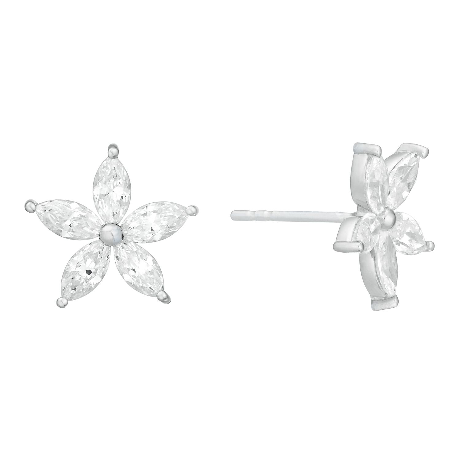 9ct White Gold Floral Cubic Zirconia Stud Earrings - Product number 4515870