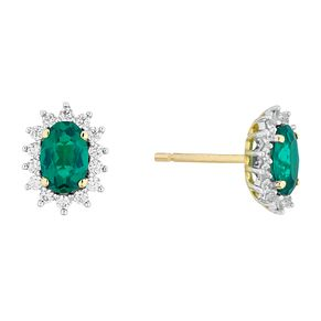 9ct Gold Created Emerald And Cubic Zirconia Cluster Pendant - Product number 4516133
