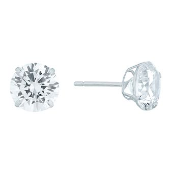 9ct White Gold Cubic Zirconia 8mm Stud Earrings - Product number 4515919