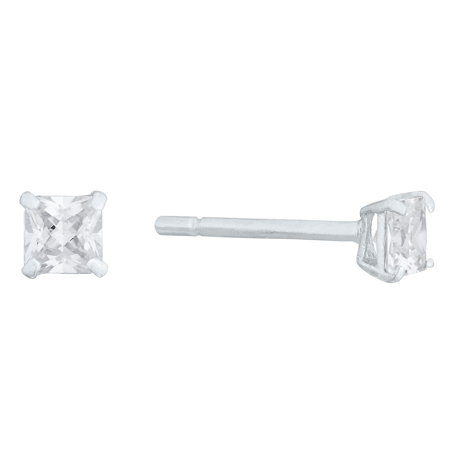 9ct White Gold 3mm Princess Stud Earrings - Product number 4515986