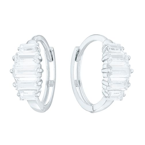 9ct White Gold Baguette Cut Cubic Zirconia Hoop Earrings - Product number 4516044