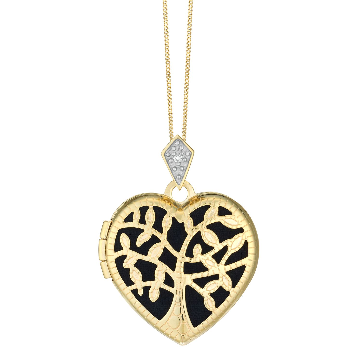 9ct Yellow Gold & Diamond Tree Of Love Heart Locket - Product number 4516095