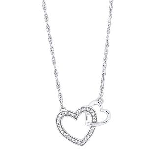 Sterling Silver Diamond Double Heart Pendant - Product number 4516621