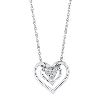 Silver Diamond 3-Stone Heart Pendant - Product number 4516702