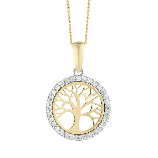 9ct Yellow Gold Tree of Life Designs Cubic Zirconia Pendant - Product number 4517261