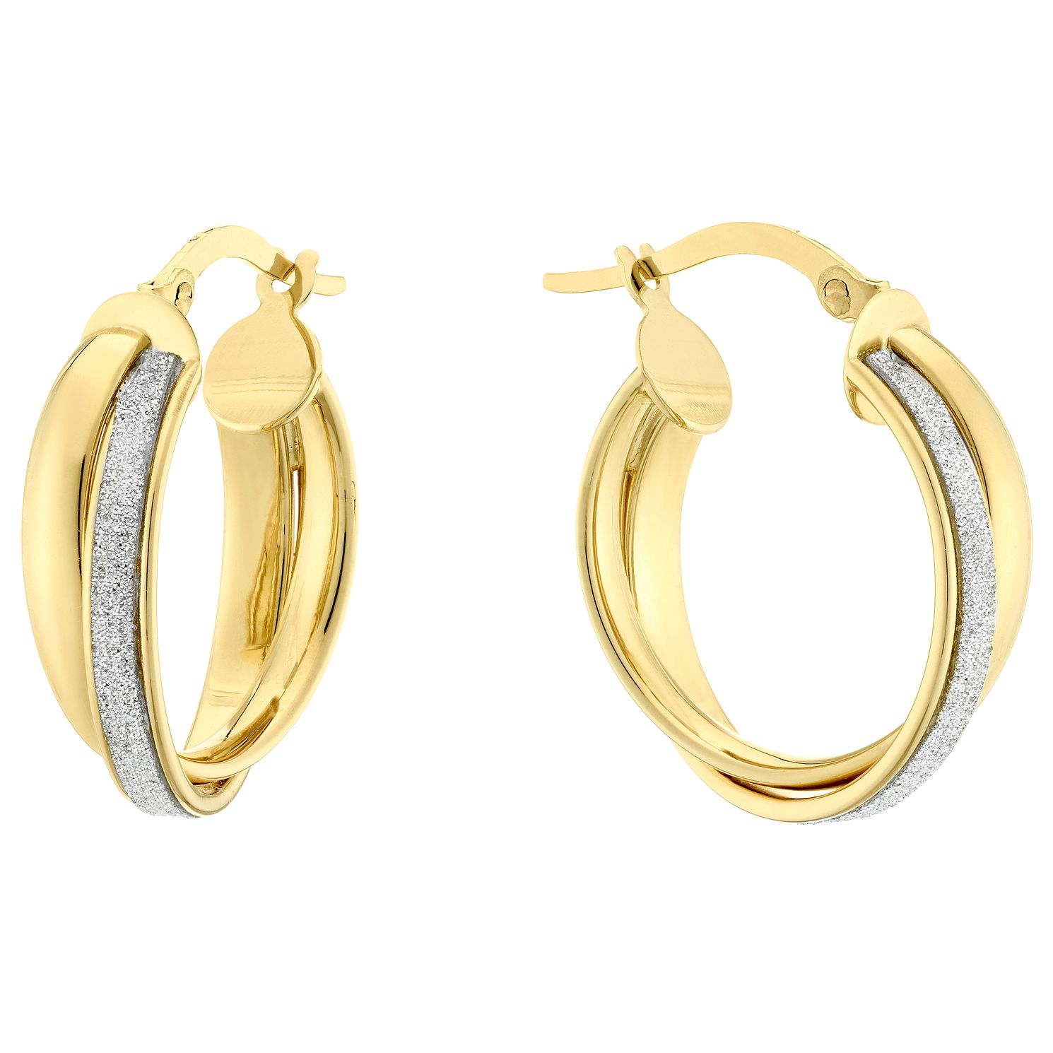 9ct Yellow Gold Oval Twist Glitter Creole Earrings - Product number 4517490