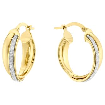 9ct Yellow Gold Glitter Double Row Hoop Earrings - Product number 4517490