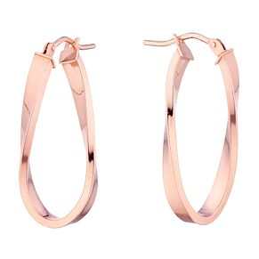9ct Rose Gold Oval Twist Creole Earrings - Product number 4517539