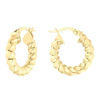 9ct Yellow Gold Twist Hoop Earrings - Product number 4517547