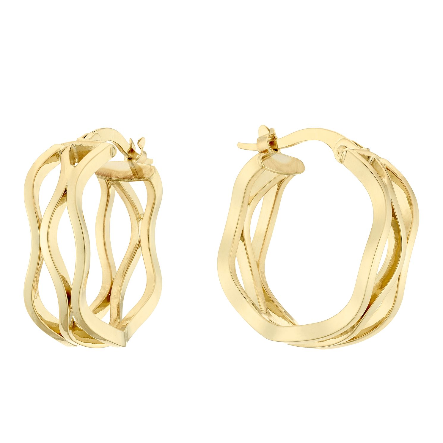 9ct Yellow Gold Triple Wave Hoop Earrings - Product number 4517555