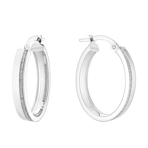 9ct White Gold Oval Creole Glitter Earrings - Product number 4517571