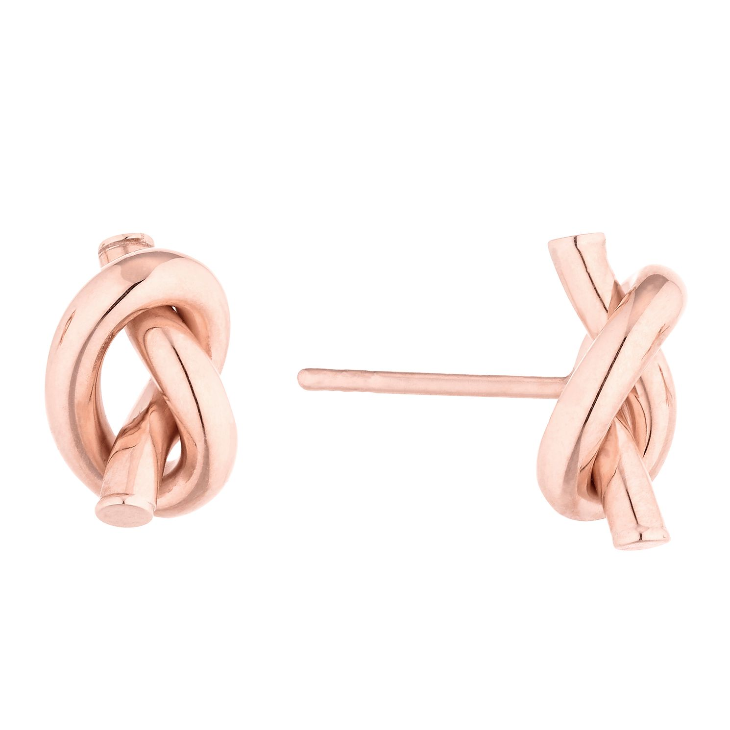 9ct Rose Gold Hand Tied Knot Stud Earrings - Product number 4517652