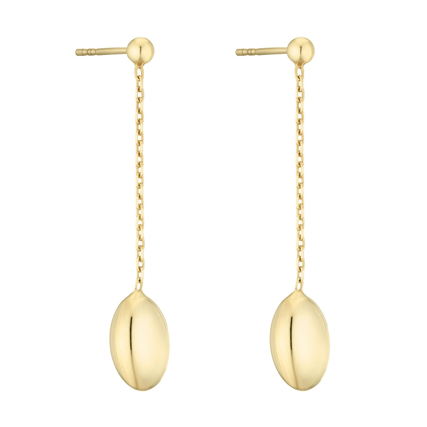 9ct Yellow Gold Oval Bead Drop Earrings - Product number 4517717