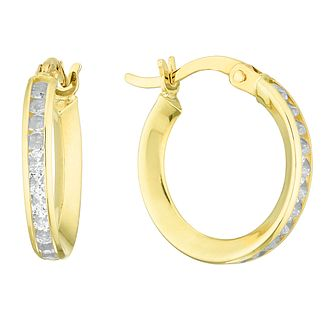 9ct Gold Channel Set Cubic Zirconia 12mm Hoop Earrings - Product number 4517741