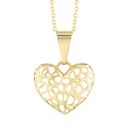 9ct Yellow Gold 3D Cutout Heart Pendant - Product number 4517857