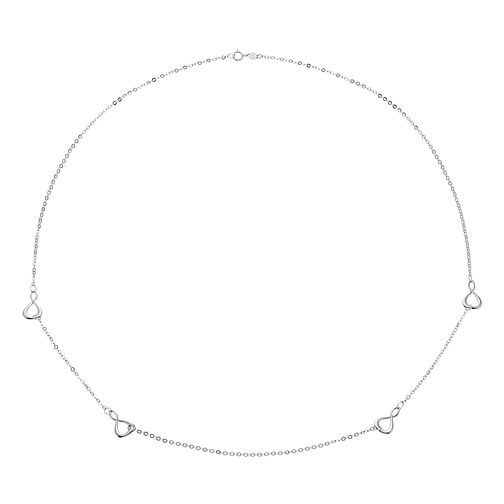 "9ct White Gold Figure of Eight Stationed 23.5"" Necklace - Product number 4518055"
