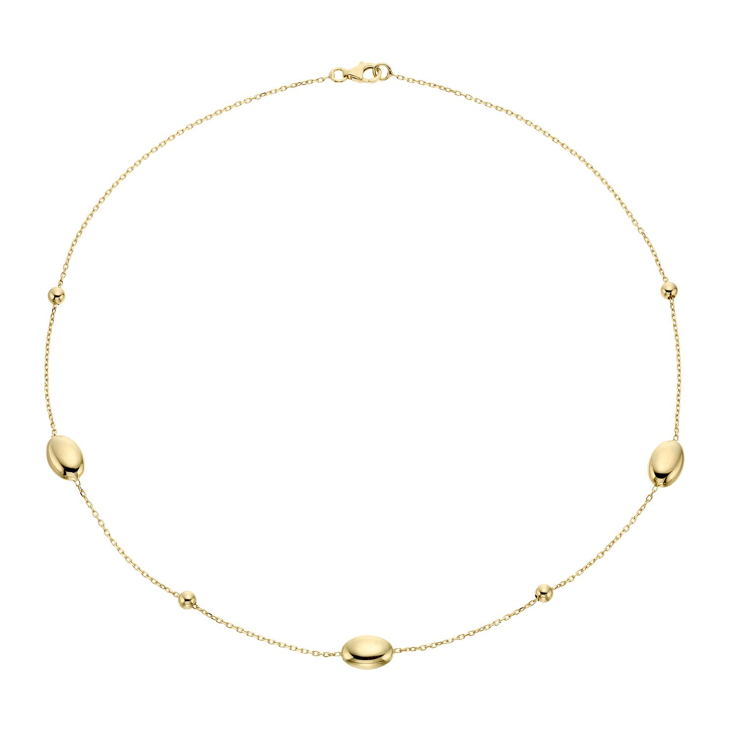 9ct Yellow Gold Oval Bead Stationed Necklace - Product number 4518071