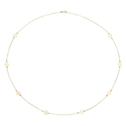 "9ct Yellow Gold 24"" Leaf Stationed Chain - Product number 4518152"