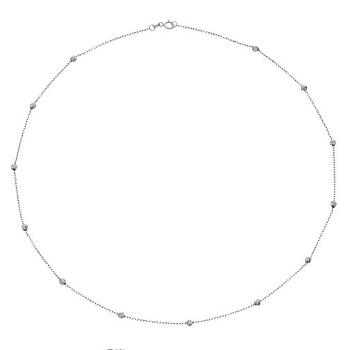 9ct White Gold Textured Bead Necklet - Product number 4518187