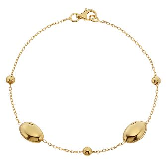 9ct Yellow Gold Oval Bead Bracelet - Product number 4518322