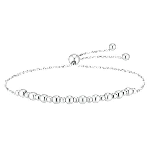 9ct White Gold Polished Bead Adjustable Bracelet - Product number 4518357