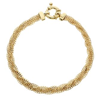 9ct Yellow Gold Twisted Mesh Bracelet - Product number 4518446