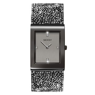 Seksy Rocks® Ladies' Gun Metal Plated Bracelet Watch - Product number 4519280