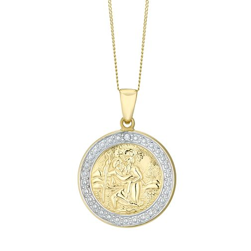 9ct Gold Two Tone Diamond St Christopher Pendant - Product number 4521404