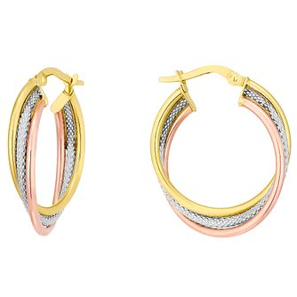 9ct 3 Colour Gold Fancy 3 Twist 20mm Hoop Earrings - Product number 4523296