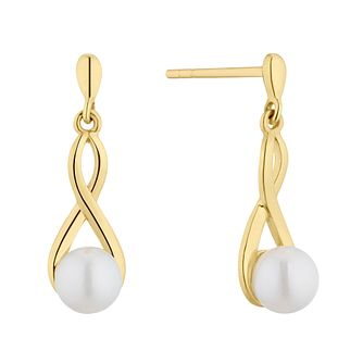 9ct Yellow Gold Cultured Freshwater Pearl Infinity Earrings - Product number 4528131