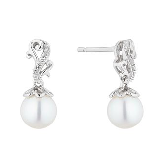 9ct White Gold Freshwater Pearl & Diamond Vintage Earrings - Product number 4528360