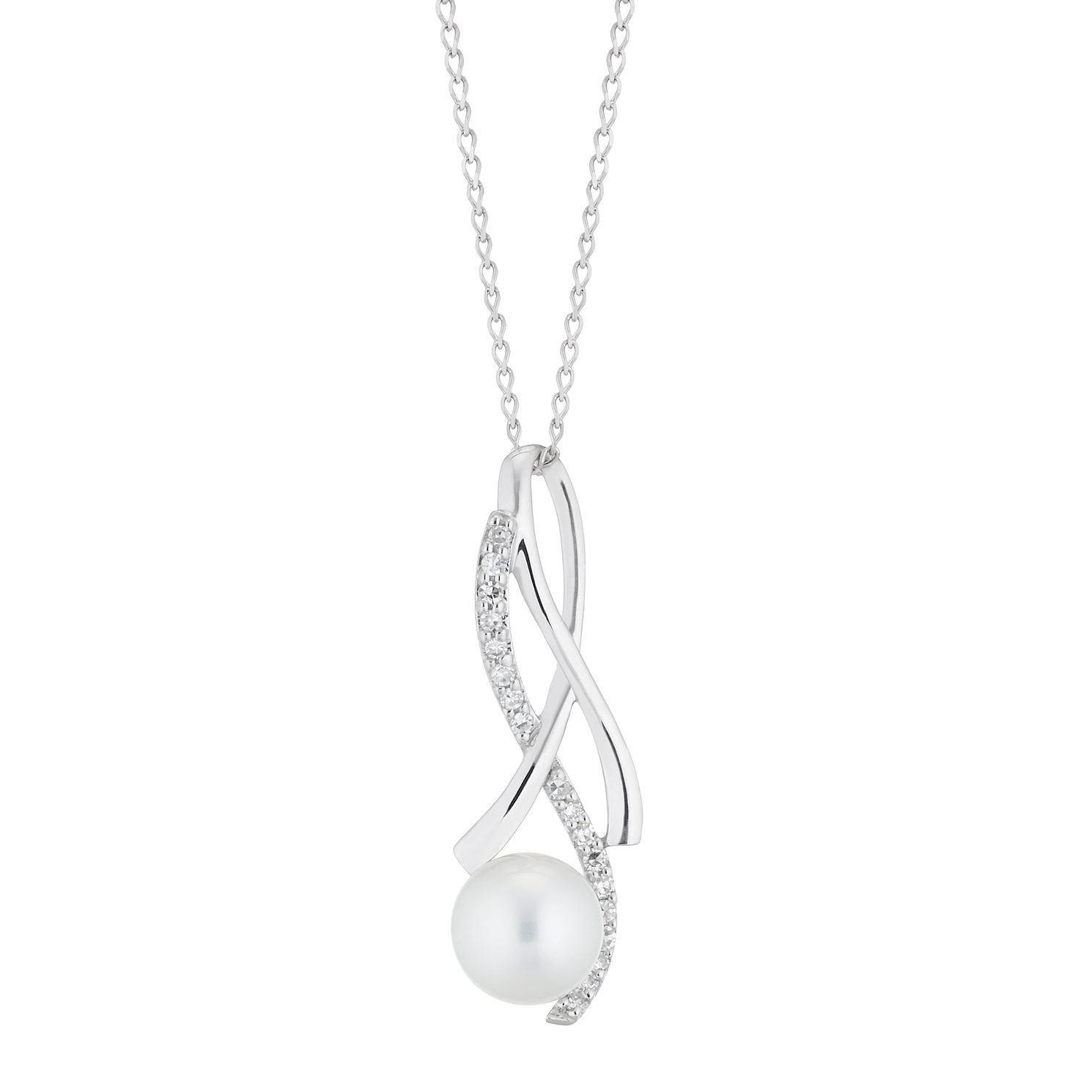 9ct White Gold Cultured Freshwater Pearl & Diamond Pendant - Product number 4528425