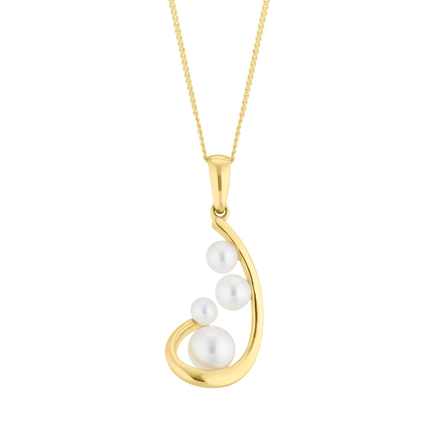 9ct Yellow Gold Cultured Freshwater Pearl Curve Pendant - Product number 4528441
