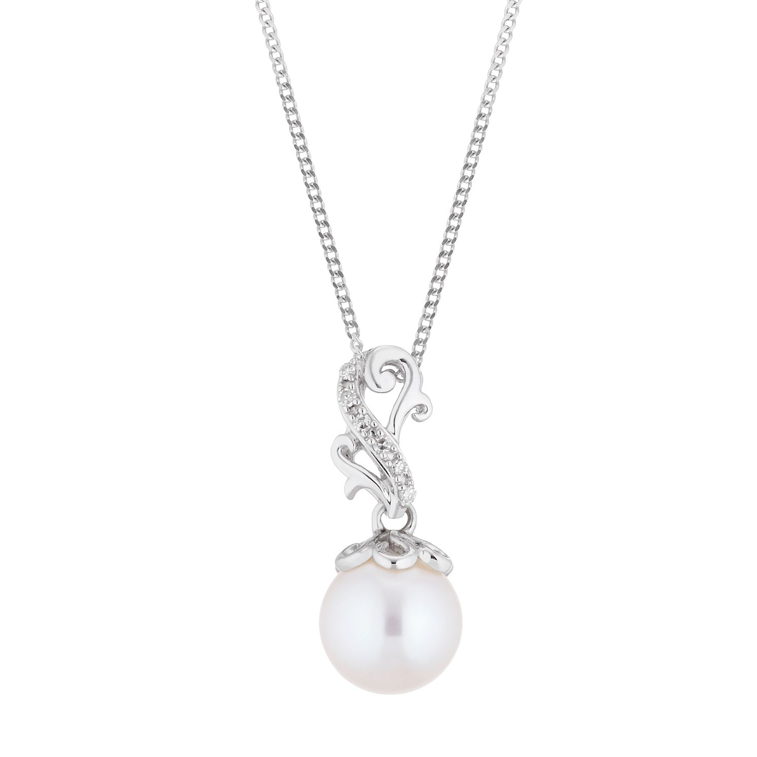 9ct White Gold Freshwater Pearl & Diamond Vintage Pendant - Product number 4528468