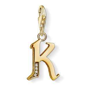 Thomas Sabo Charm Club Gold Plated Vintage K Letter Charm - Product number 4528859