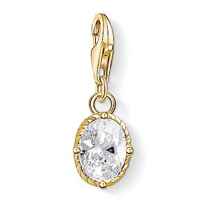 Thomas Sabo Ladies' Yellow Gold Plated Oval Crystal Charm - Product number 4530101