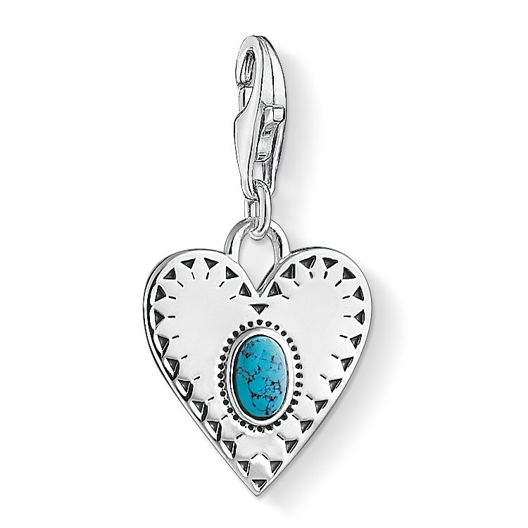 Thomas Sabo Charm Club Sterling Silver Turquoise Heart Charm - Product number 4530144