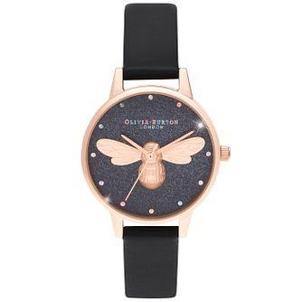 Olivia Burton Lucky Bee Black Vegan Leather Strap Watch - Product number 4532252