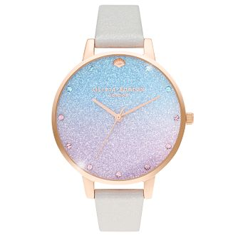 Olivia Burton Glitter Dial White Leather Strap Watch - Product number 4532538