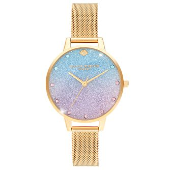 Olivia Burton Glitter Dial Yellow Gold Tone Bracelet Watch - Product number 4532546