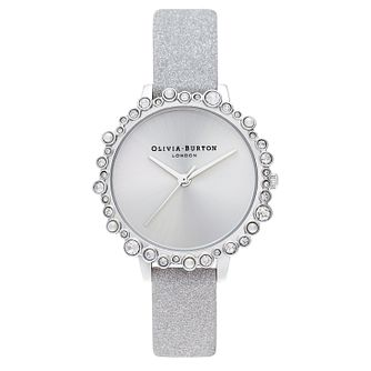 Olivia Burton Bubble Case Silver Sparkle Strap Watch - Product number 4532600