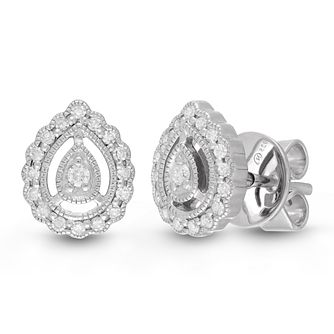 Neil Lane Designs Silver 0.15ct Diamond Pear Stud Earrings - Product number 4533313