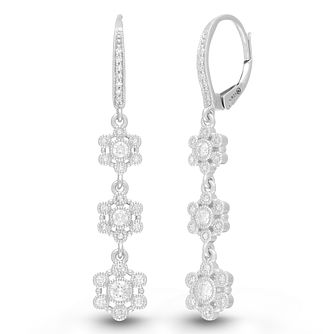 Neil Lane Designs Silver 1/2ct Diamond Drop Hoop Earrings - Product number 4533453