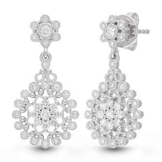 Neil Lane Designs Silver 1/2ct Diamond Flower Drop Earrings - Product number 4533496