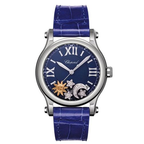 Chopard Happy Sport Ladies' Blue Moon Leather Strap Watch - Product number 4533593