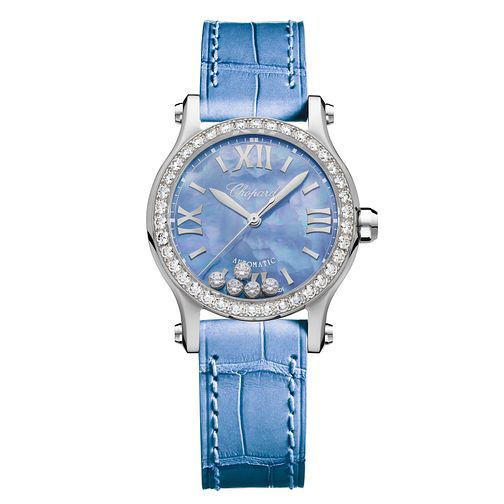 Chopard Happy Sport Ladies' Light Blue Leather Strap Watch - Product number 4533615