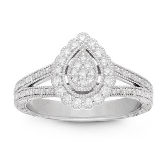 Neil Lane Designs Silver 1/4ct Pear Diamond Halo Ring - Product number 4533631