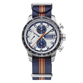 Chopard Grand Prix De Monaco Men's Blue & Orange Strap Watch - Product number 4533712