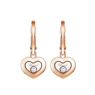Chopard Happy Diamonds 18ct Rose Gold Diamond Drop Earrings - Product number 4533771